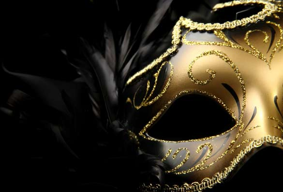 gold colored mask