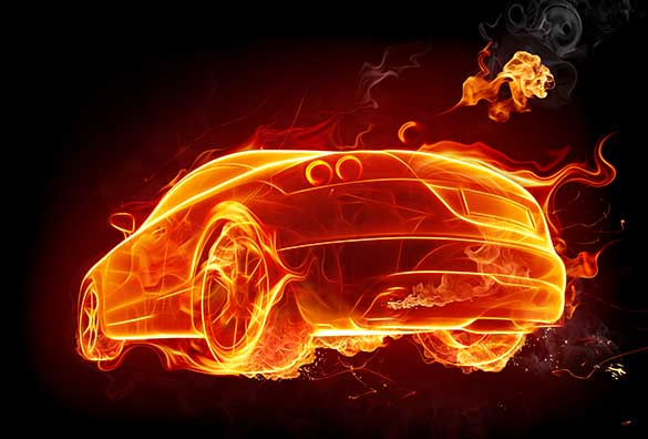 orange flame car