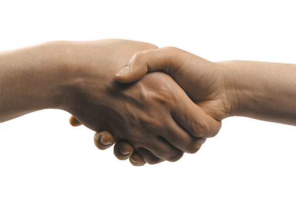 client graphic design handshake
