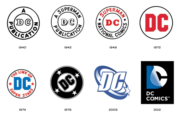 dc comics logo designs over the years