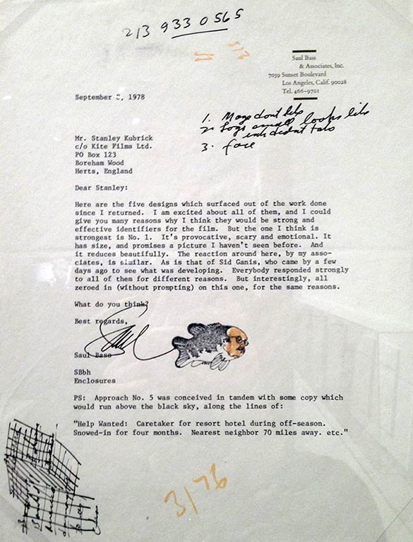 typed letter from Saul Bass to Kubrick