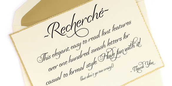 Recherche Font A Classy Easy To Read Typeface Available In One Weight Good Choice For Wine Bottle Labels Invitations Thank You Cards Etc