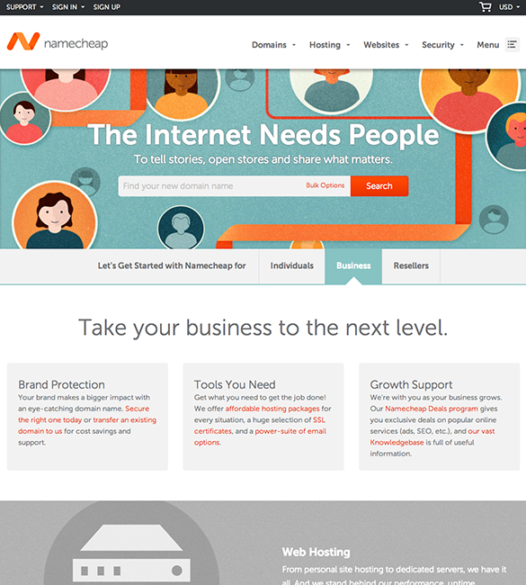 new web design Namecheap
