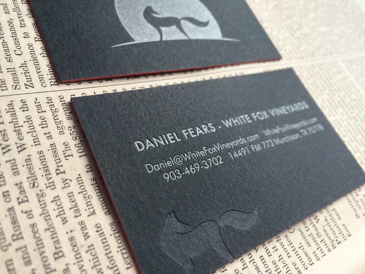 winery letterpress business cards