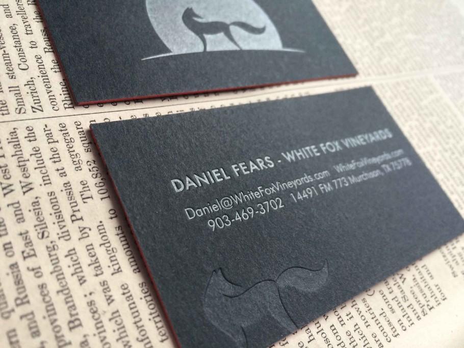 winery letterpress business card