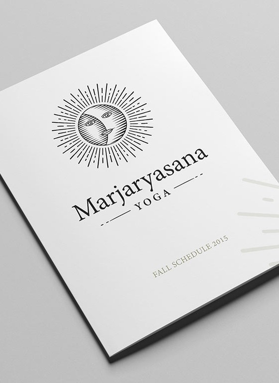 yoga logo on pamphlet