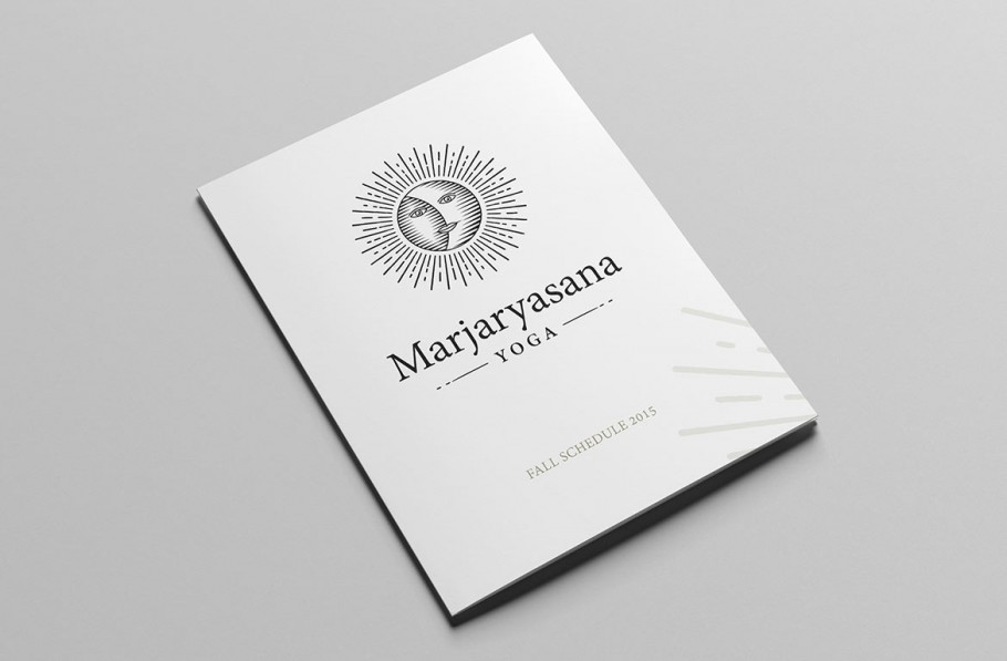 yoga logo on pamphlet